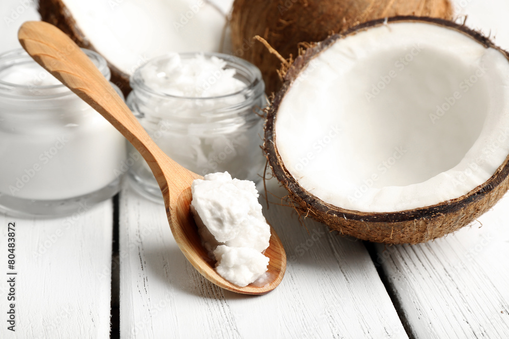 Fototapety, obrazy: Coconut with jars of coconut oil and cosmetic cream