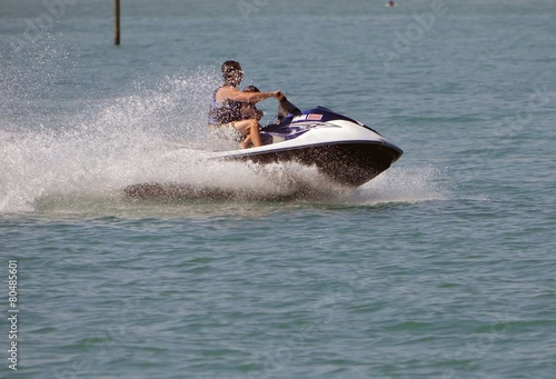 Poster Water Motor sports Father and Toddler on a Jetski