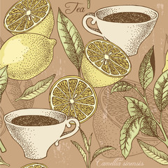 Naklejka Do kuchni Vintage tea and lemon seamless background