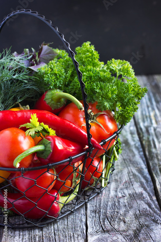 fresh organic vegetables on the  basket Poster