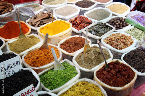 Canvas Prints Condiments Variety of spices at Anjuna flea market in Goa, India