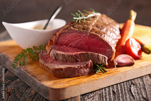 Photo  roasted beef fillet