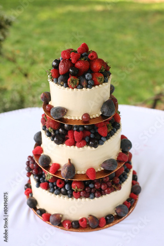 Wedding Cake with Berries - 80496875