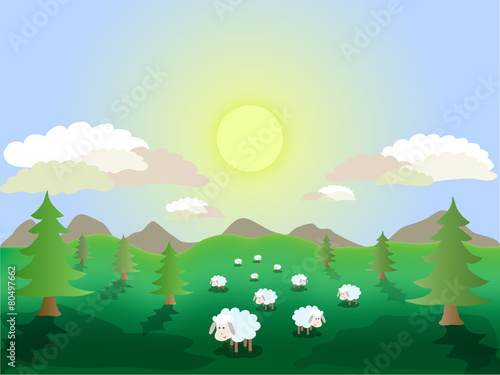 Aluminium Prints Green coral a herd of sheep grazing on a green meadow near the trees