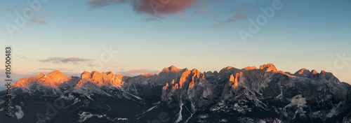 Spoed Foto op Canvas Grijze traf. Panoramic view of Dolomites mountains ridge