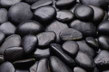 Black Pebbles For Texture And Background Shining Smooth Natural Beach Stones Or Rocks