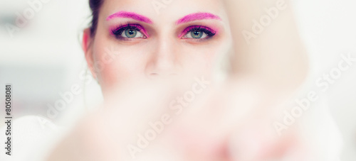 Fototapety, obrazy: The woman with a bright pink make-up.