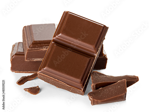 Fotografía  chocolate bars isolated on white background