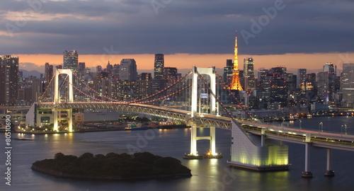 Poster Tokyo View of Tokyo Bay , Rainbow bridge and Tokyo Tower landmark .