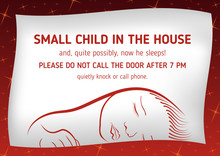 Outside Notice That Sleeps Small Child