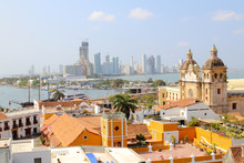 Cartagena, Colombia Skyline. Historic City, Bocagrande And Port