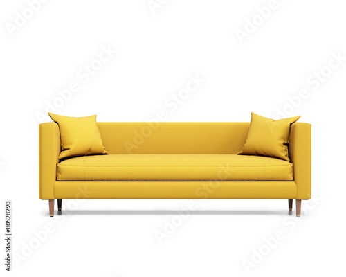 Isolated contemporary yellow sofa with cushions Fototapet