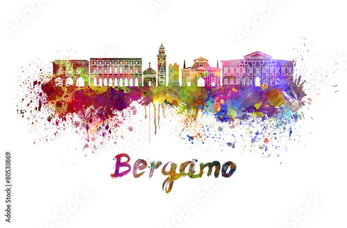 Fotografiet Bergamo skyline in watercolor