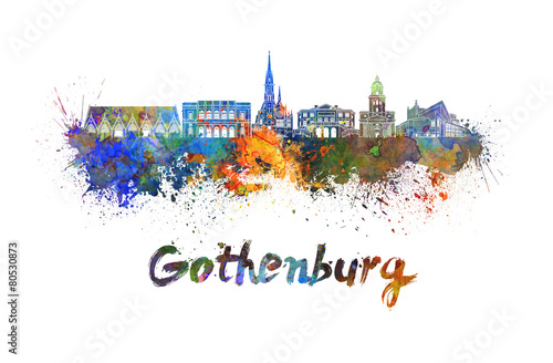 Fotografia  Gothenburg skyline in watercolor