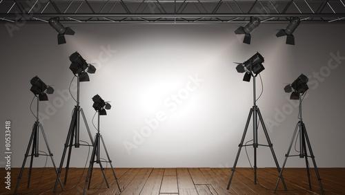 Foto op Canvas Licht, schaduw Spotlight. 3D. Spot Lit Wall