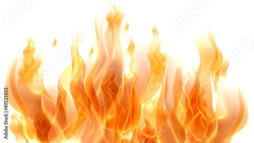 Photo sur Aluminium Feu, Flamme Fire. 3D. Fire Flames on white