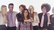 Happy mixed ethnicity business group on white background in studio shot