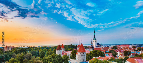 Photo Stands Eastern Europe Panorama Panoramic Scenic View Landscape Old City Town Tallinn I