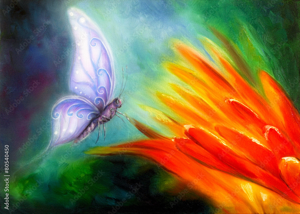 Fototapeta Butterfly flying towards an orange flower, beautiful detailed