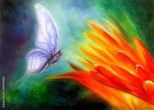 Fototapety, obrazy: Butterfly flying towards an orange flower, beautiful detailed