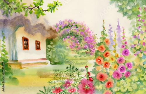 Fototapety, obrazy: Rural hut in the garden