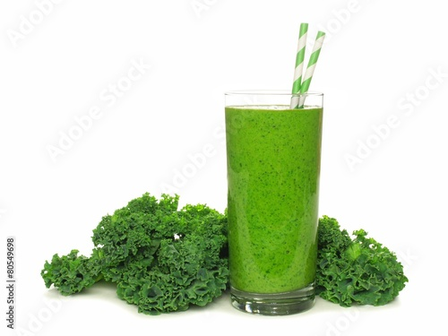 Healthy green smoothie with kale isolated on white