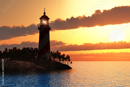 Papiers peints Phare Dramatic sunset with lighthouse on island in sea