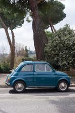 Blue Fiat 500 Car