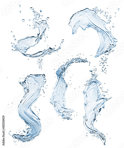 Set of different water splashes on white background. Fototapete