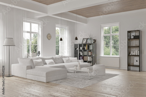 Obraz Modern loft living room interior - fototapety do salonu