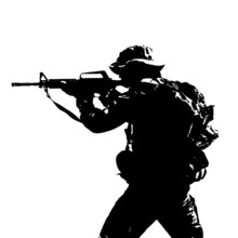 Black Silhouette Of A Sniper S...