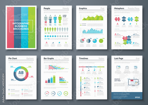 Vector graphics in infographic business brochure illustration Canvas Print