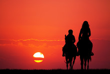 Mother And Son On Horseback