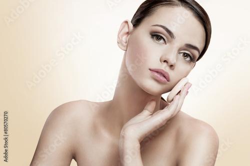 Fotografie, Obraz  Pretty female enjoy a flawless skin, skin care concept
