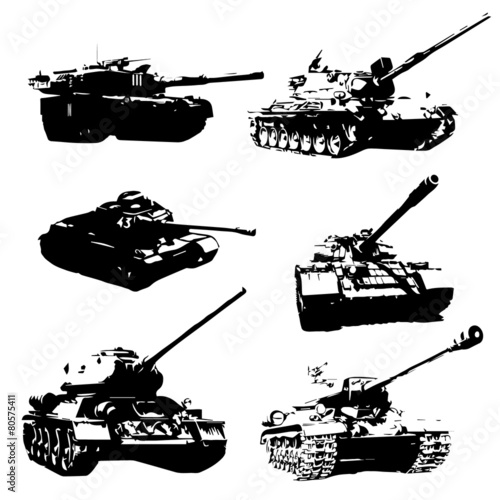 Pinturas sobre lienzo  Silhouettes of black battle tanks. Icons tanks