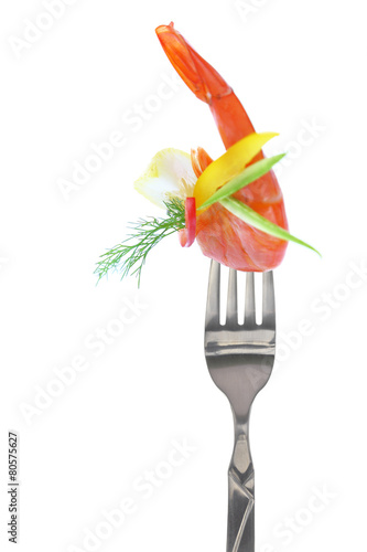 In de dag Verse groenten Fresh colorful composition with seafood on fork