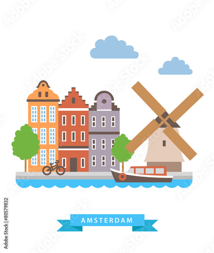 Photo  Amsterdam flat background vector