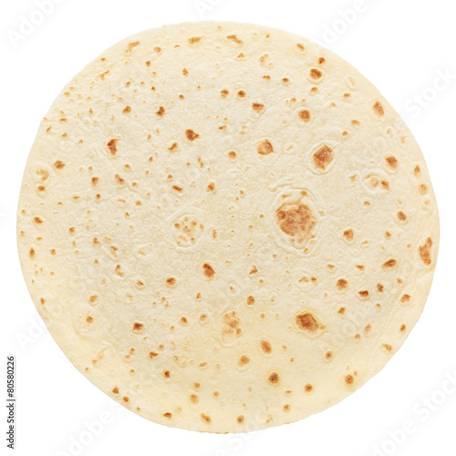 Fotografie, Obraz  Piadina, round italian tortilla on white, clipping path
