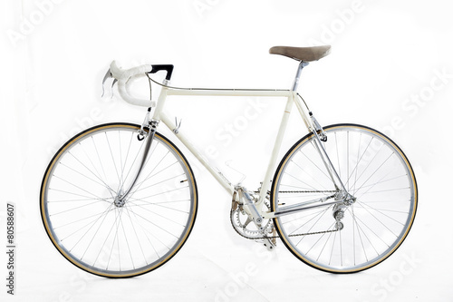 vintage racing bike isolated on a white background