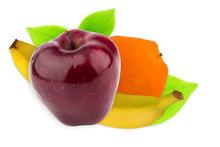 Orange Banana Apple With Leaf ...