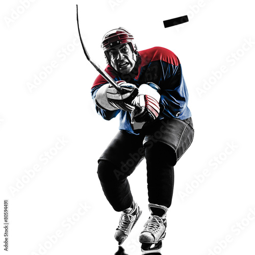 Ice hockey man player silhouette Poster