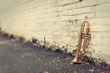 Fototapeta na wymiar Old Trumpet Brick Wall
