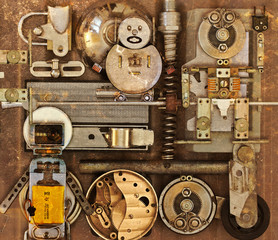 Panel Szklany Grunge Mechanical collage with different items Steampunk