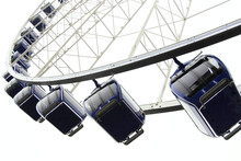 Giant Observation Wheel With Safe Cabins On White Background