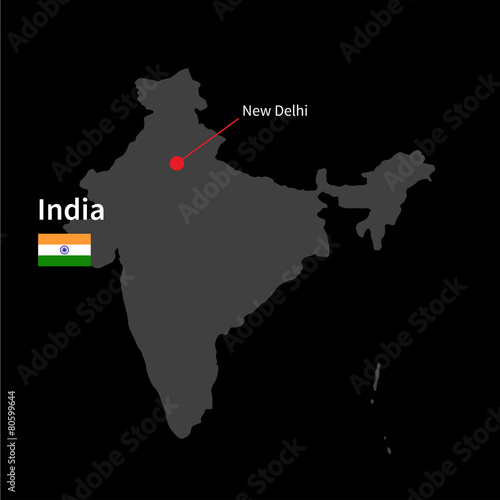 Detailed map of India and capital city New Delhi with flag on ... on