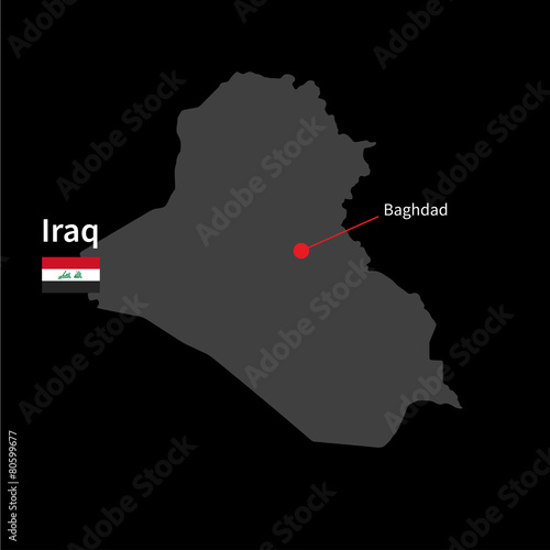 Fotografia, Obraz  Detailed map of Iraq and capital city Baghdad with flag on black