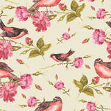 Seamless Vintage Background with Roses and Birds