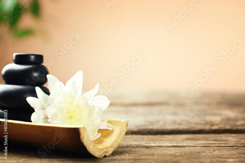 Garden Poster Spa Beautiful spa composition on wooden table, on brown background
