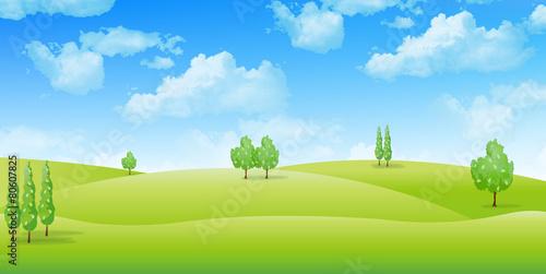 草原 風景 背景 Fototapet