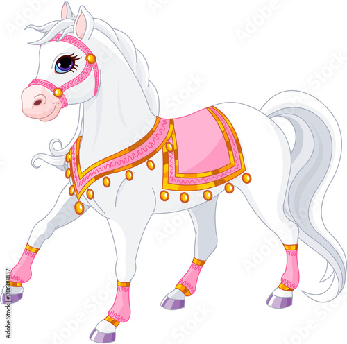 Plakat Piękny biały koń królewski